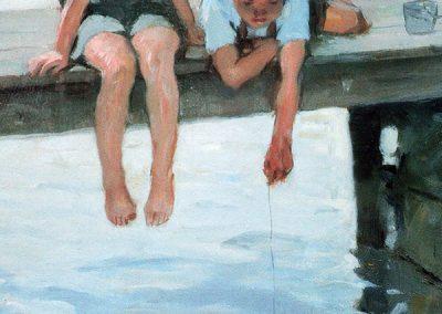 Bild von einem Gemälde mit zwei Kindern am Steg